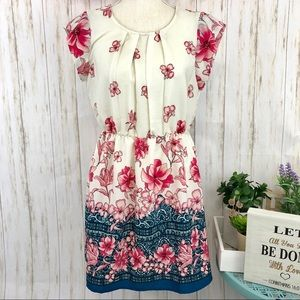 EUC SWEET RAIN Pink Floral Ivory Sleeveless Dress